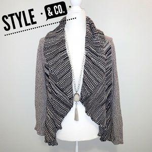 Style & Co Brown & Black Open Flowy Cardigan